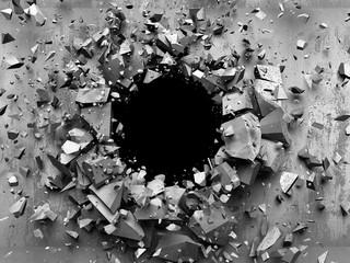 Tło 3D pękająca betonowa ściana, efekt wybuchu, dziura w ścianie