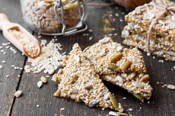 homemade crackers with sesame and seeds