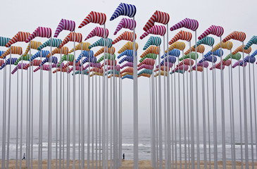 A creation made with Wind cones designed by French conceptual artist Buren is seen in De Haan