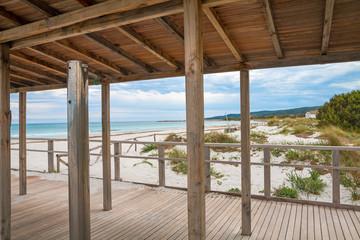 white sand beach in Villasimius beach, Sardinia island, Italy