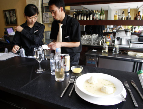 A plate of matzah ball soup sits in Dini's Kosher Restaurant in Chaoyang District in Beijing