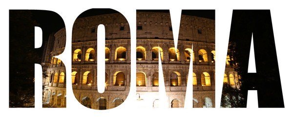 Rome text background with Colosseum