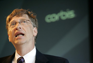 Corbis owner and Microsoft Corp. Chairman Bill Gates speaks at the Corbis annual meeting in New York..