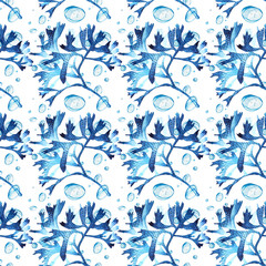Seamless pattern of blue corals watercolor illustration. Hand drawn sketch for design. Underwater watercolor background illustration.