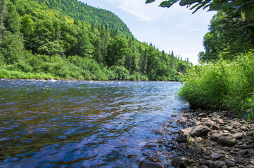Panoramic view of Jacques Cartier River, Jacques Cartier Naional Park, Quebec