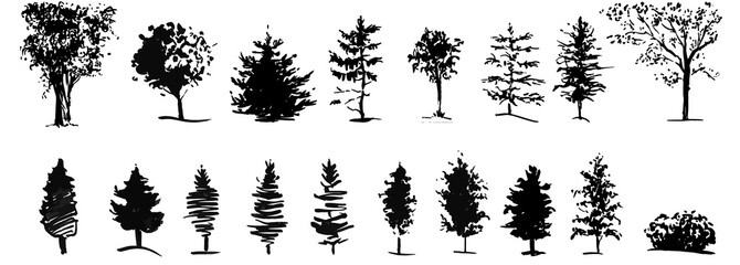 Ink illustration of growing trees with some grass. Silhouette isolated on white background.