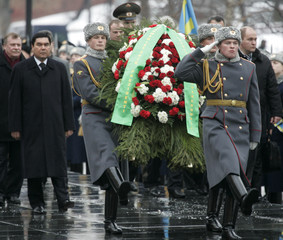 Turkmenistan's President Berdymukhamedov takes part in wreath laying ceremony at the Tomb of the Unknown Soldier in Moscow