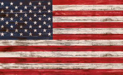 United States Flag on Wooden Surface