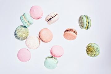Macarons cake, top view flat lay, fly falling pattern macaroon