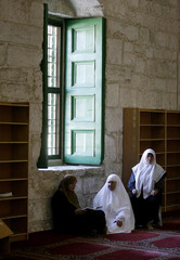Women pray inside of Al Aqsa compound during the Muslim fasting month of Ramadan in Jerusalem