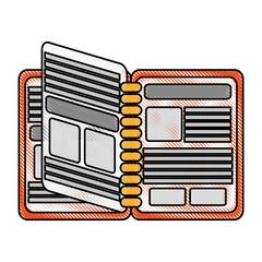 color blurred stripe phone book open vector illustration
