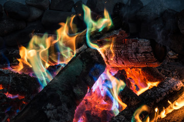 Colorful flames, fireplace - Stock image
