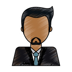 color pencil image caricature faceless half body man with beard vector illustration