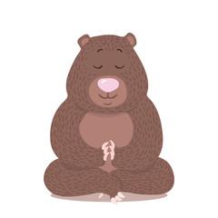Vector cartoon style bear in yoga pose logo. Cute logotype