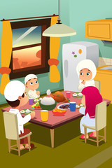 Muslim Family Eating Dinner at Home