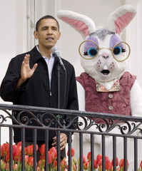 U.S. President Barack Obama speaks during 2009 White House Easter Egg Roll at the White House