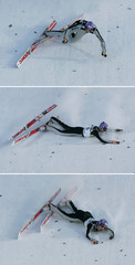 Combo photo of Germany's Martin Schmitt  as he crashes at the reception area  of his first jump during a ski jumping World Cup competition in Titisee-Neustadt