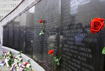 FLOWERS LAID BY FAMILY MEMBERS IN MEMORY OF THEIR LOVED ONES AT THEMEMORIAL SITE FOR VICTIMS OF THE ...
