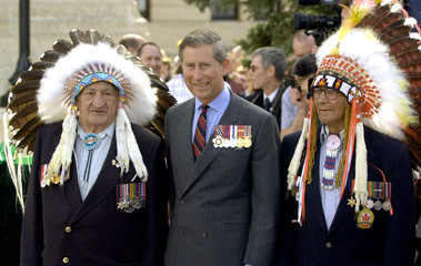 PRINCE CHARLES WITH NATIVE AMERICANS AT SASKATCHEWAN LEGISLATURE.