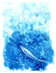 Big Blue Whale and water.Watercolor hand drawn illustration.Underwater animal art.