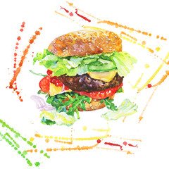 Hand drawn cheeseburger with vegetables. Watercolor meet fast food with splashes. Painting isolated summer barbecue illustration on white background