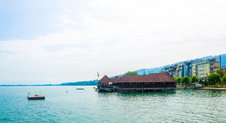 View of a bathing hut near Rorschach, Switzerland