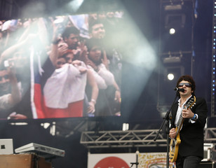 "Juanse singer of the Ratones Paranoicos pop band performs during ""The Concert For The Children"" in Buenos Aires"