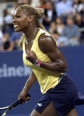 SERENA WILLIAMS REACTS TO WIN OVER ANCA BARNA IN US OPEN MATCH.