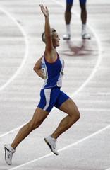 Spotakova of the Czech Republic celebrates winning the women's javelin athletics final in the National Stadium at the Beijing 2008 Olympic Games