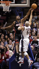 New Jersey Nets Kidd blocked by Miami Heat Anderson.