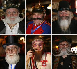 A combination picture shows participants of the international German beard championships in Eging am See