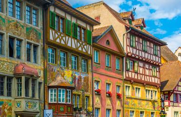 Colorful houses in the swiss town Stein am Rhein Wall mural