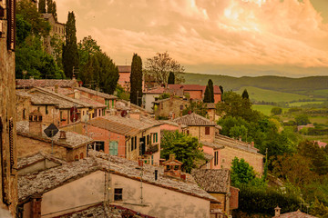View of the city of montepulciano in the province of siena toscana italia, famous for the red wine...