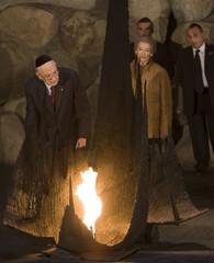 Italy's President Napolitano rekindles eternal flame at Yad Vashem Holocaust Memorial in Jerusalem