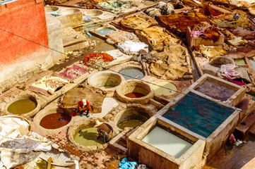 View on leather Tannery in Marrakech - Morocco