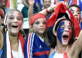 French soccer fans celebrate their team's performance at Ulsan's Munsu Football Stadium, 400km (250 ..