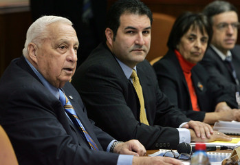 Israeli Prime Minister Sharon attends weekly cabinet meeting in Jerusalem