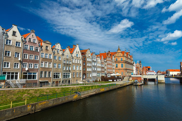 The old town in Gdansk during the sunny day