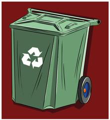Мусорный бак для бытовых отходов, иллюстрация