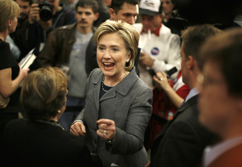 U.S. Presidential candidate, Senator Hillary Clinton (D-NY) greets supporters during a rally in Des Moines