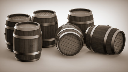 Set of wooden barrels, collection of standing and lying beer, wine and rum wooden barrels.