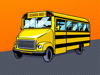 School bus pop art style vector