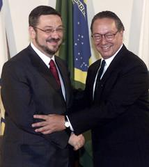 BRAZILS NEW FINANCE MINISTER PALOCCI AND FORMER FINANCE MINISTER MALAN.