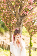Girl with colored hair. A woman with pink hair poses near sakura. A woman dressed in a white dress and a denim jacket. Blooming tree. woman covered her face with her hands