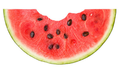 watermelon clipping path, with a bite isolated on white background