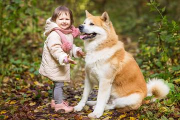 Little girl with big dog outdoor. Autumn, gold retriever.