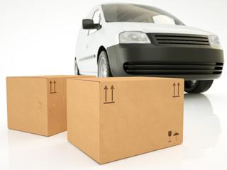 Van with package stack - 3D Render