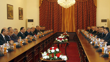 Turkey's President Gul and his delegation meet with Iraq's President Talabani and his delegation at Salam Palace in Baghdad