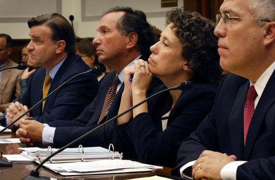 Steel, Dugan, Bair and Sirri address why a crisis originating from risky loans to less creditworthy buyers happened during a hearing of the House Financial Services Committee on Capitol Hill in Washington