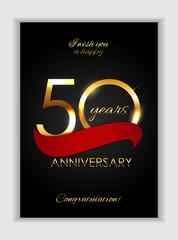 Template 50 Years Anniversary Congratulations Vector Illustration